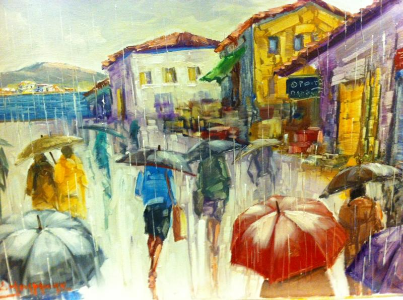 Original painting                            walk in the rain