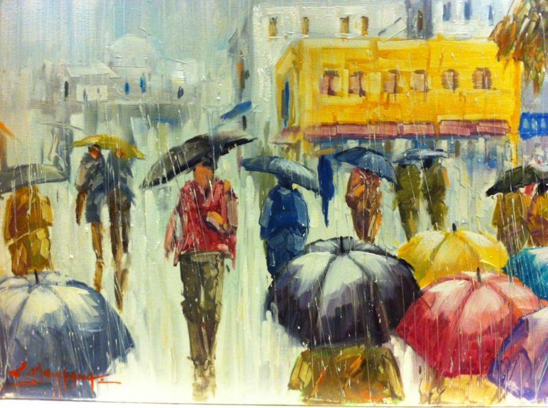 ΠΙΝΑΚΑΣ ΖΩΓΡΑΦΙΚΗΣ       βόλτα στη βροχή  Μπουράνης   Σ.