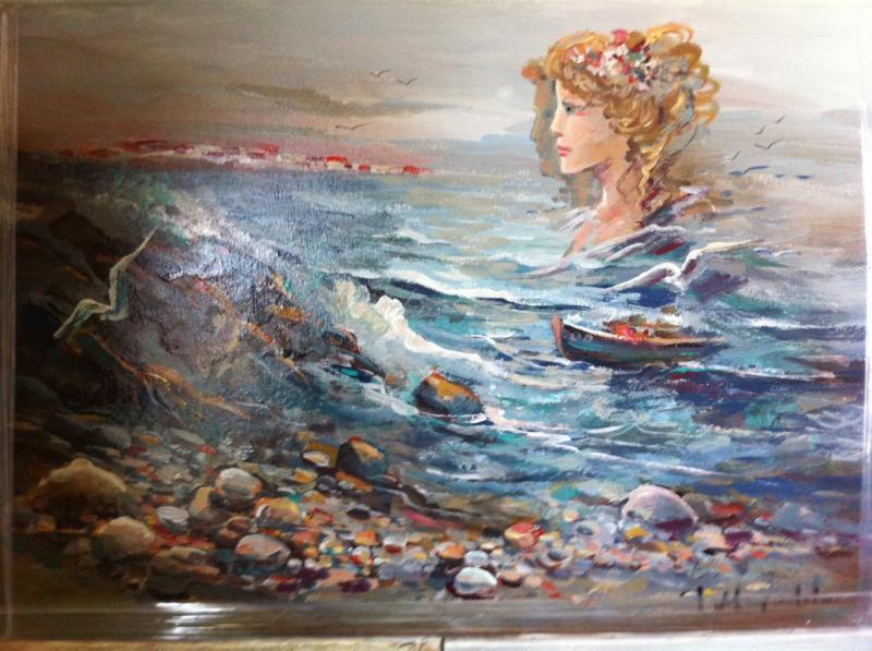 ΠΙΝΑΚΑΣ ΖΩΓΡΑΦΙΚΗΣ       θάλασσα   Μουρατίδου Φ.
