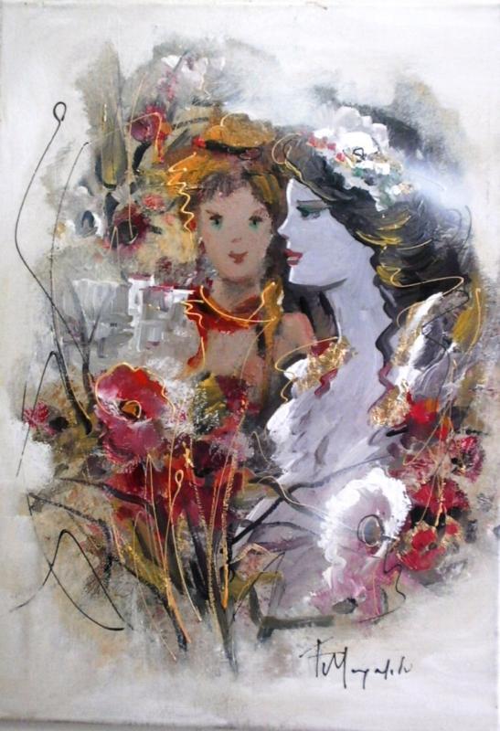 ΠΙΝΑΚΑΣ ΖΩΓΡΑΦΙΚΗΣ      Κοπέλα με λουλούδια Μουρατίδου Φ.