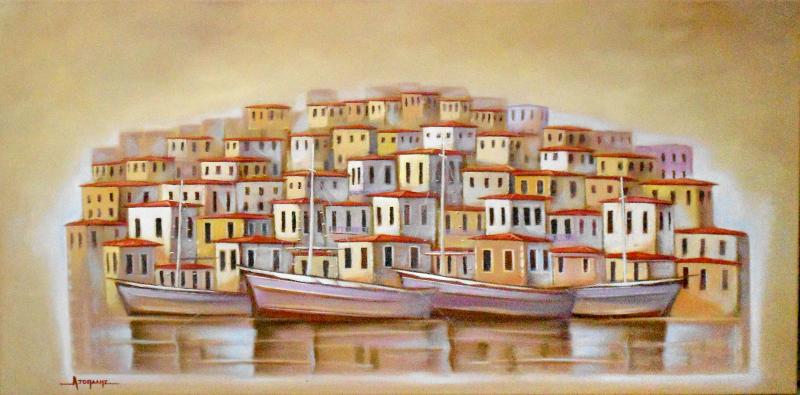 "Original painting      ""Dreamed harbours"""